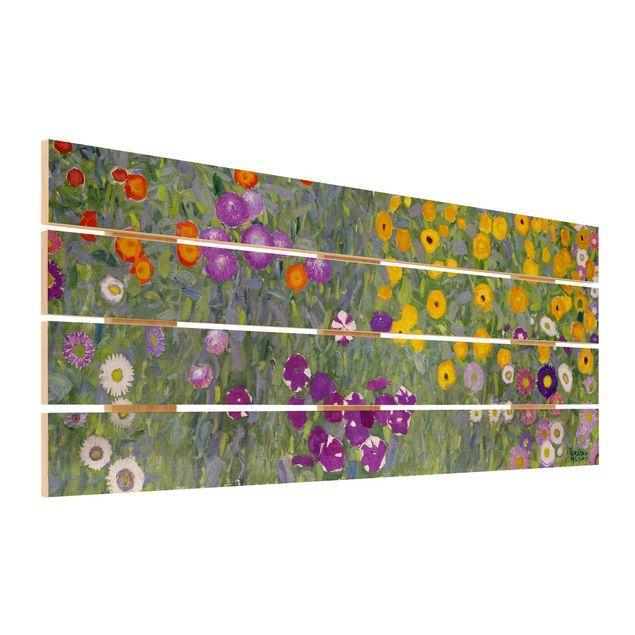 Holzbild - Gustav Klimt - Bauerngarten - Querformat 2:5