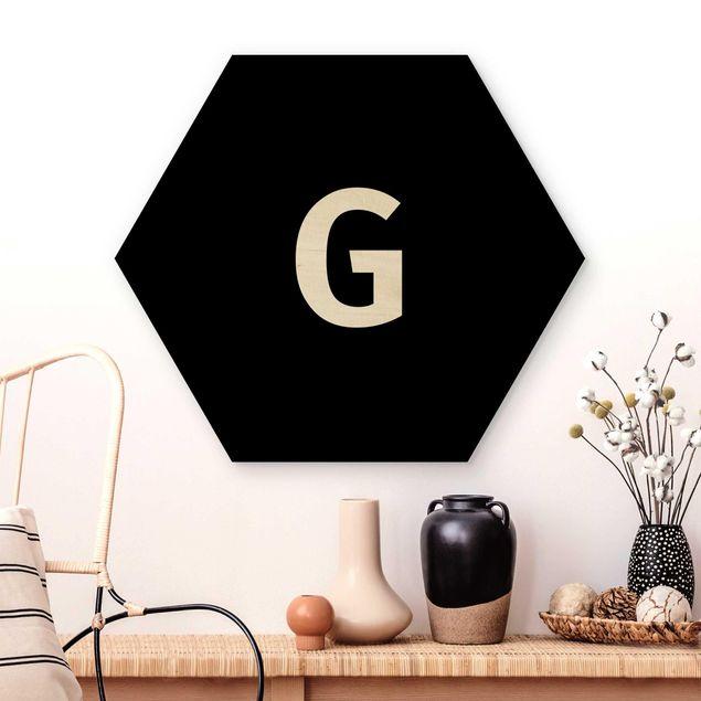 Hexagon Bild Holz - Buchstabe Schwarz G