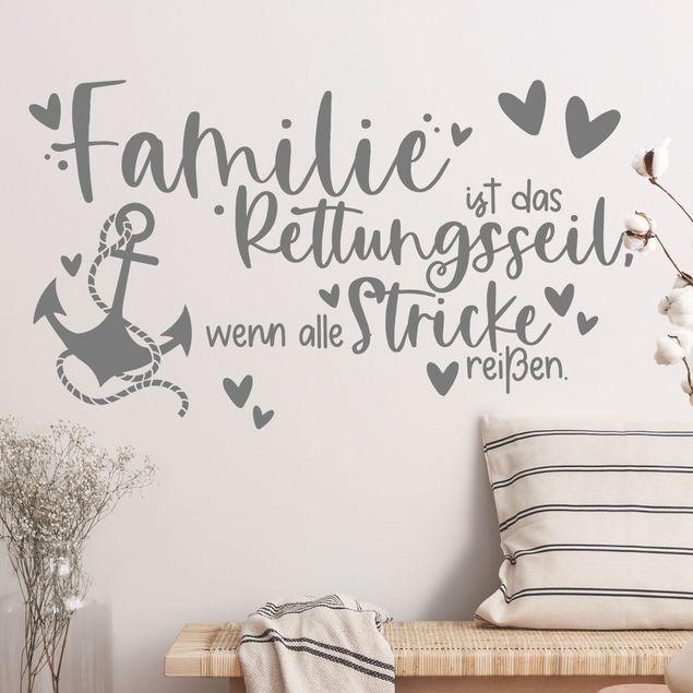 Wandtattoo - Familie ist das Rettungsseil