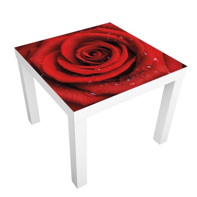 Beistelltisch - Rote Rose mit Wassertropfen