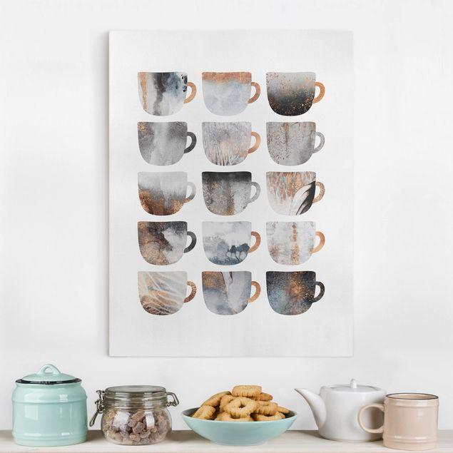 Leinwandbild - Graue Kaffeetassen mit Gold - Hochformat 4:3
