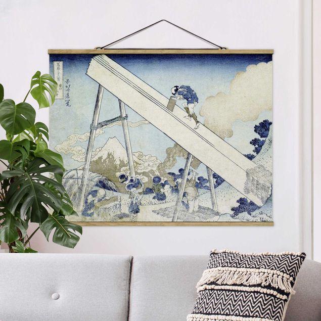Stoffbild mit Posterleisten - Katsushika Hokusai - In den Totomi Bergen - Querformat 4:3