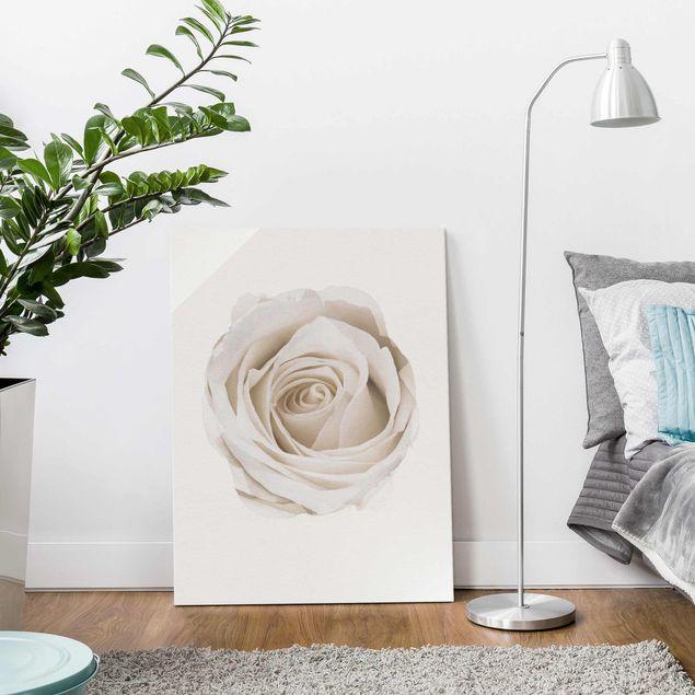Glasbild - Wasserfarben - Pretty White Rose - Hochformat 4:3