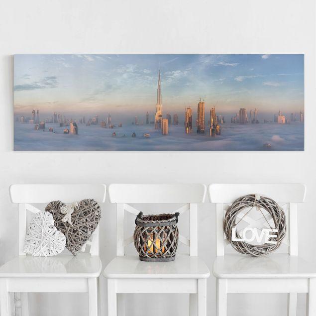 Leinwandbild - Dubai über den Wolken - Panorama 1:3