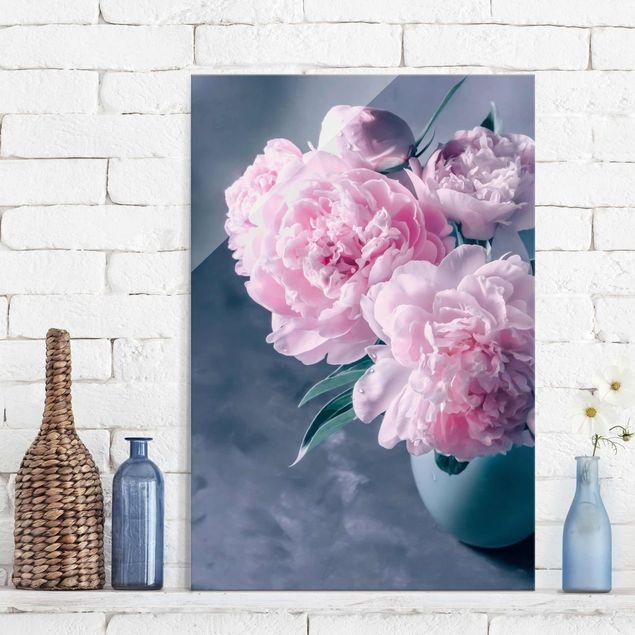 Glasbild - Vase mit Rosa Pfingstrosen Shabby - Hochformat 3:2
