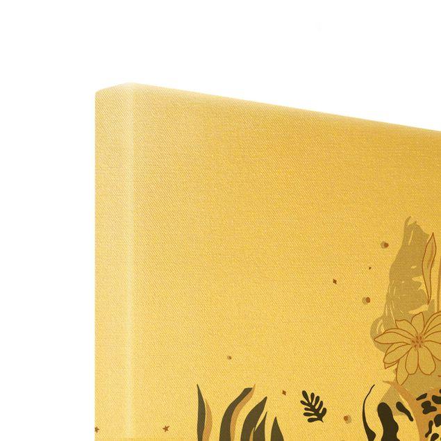 Leinwandbild Gold - Safari Tiere - Portrait Leopard - Hochformat 3:4