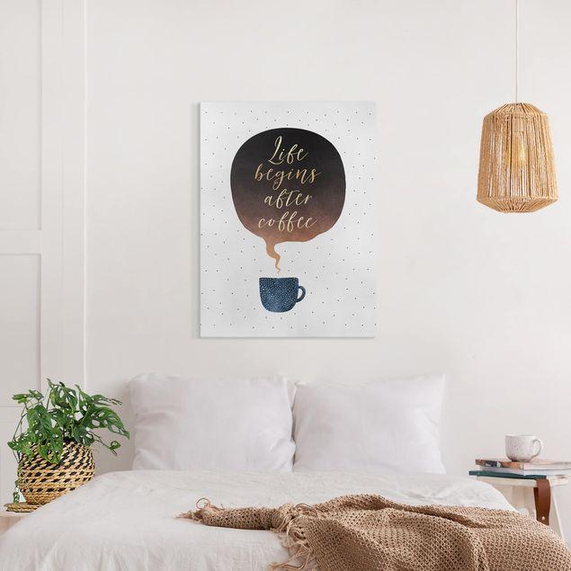 Leinwandbild - Life Begins After Coffee Punkte - Hochformat 4:3