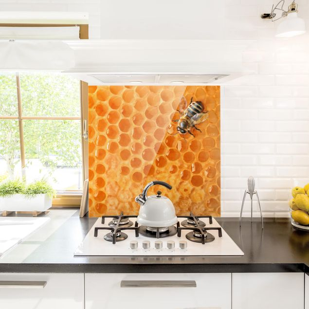Glas Spritzschutz - Honey Bee - Quadrat - 1:1