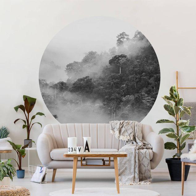 Runde Tapete selbstklebend - Dschungel im Nebel Schwarz Weiß