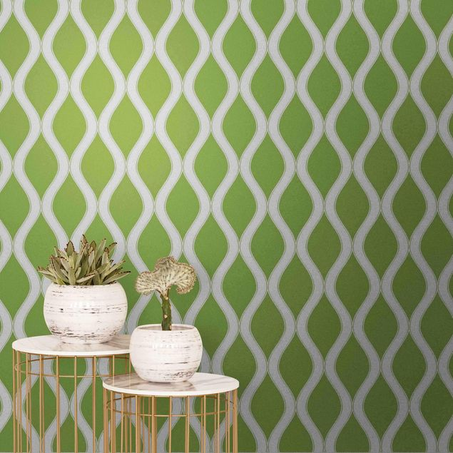 Metallic Tapete - Dunkles Retro Muster mit glänzenden Wellen in hellgrün