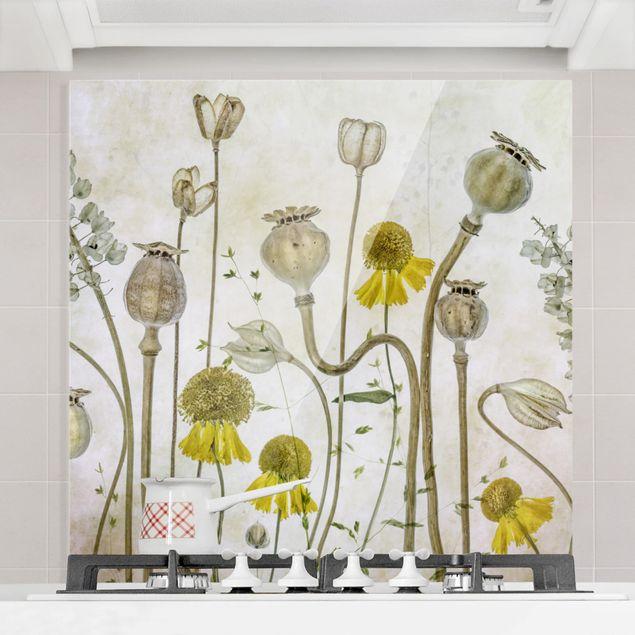 Glas Spritzschutz - Mohn und Helenium - Quadrat - 1:1