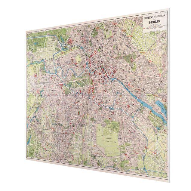 Forex Fine Art Print - Vintage Stadtplan Berlin - Querformat 3:4