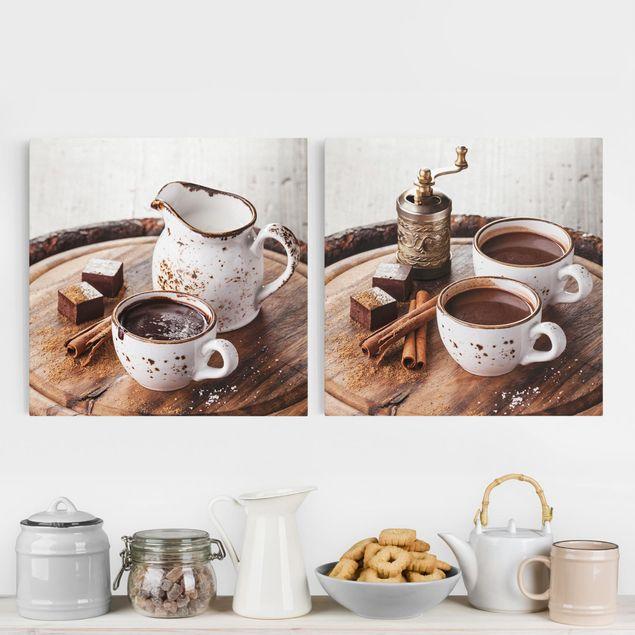 Leinwandbild 2-teilig - Heiße Schokolade - Quadrate 1:1
