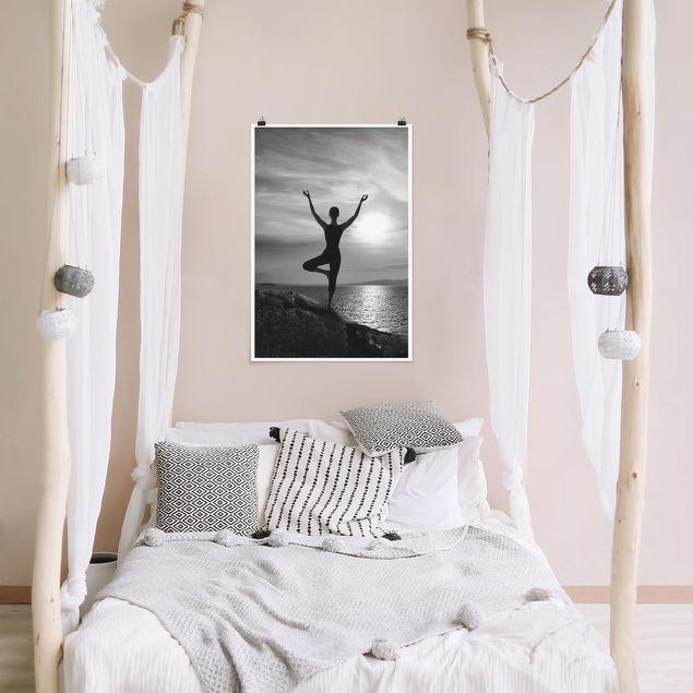 Poster - Yoga schwarz weiss - Hochformat 3:2