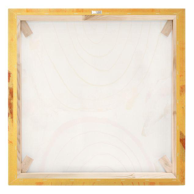 Leinwandbild Gold - Strahlende Farbbögen in Karamell - Quadrat 1:1