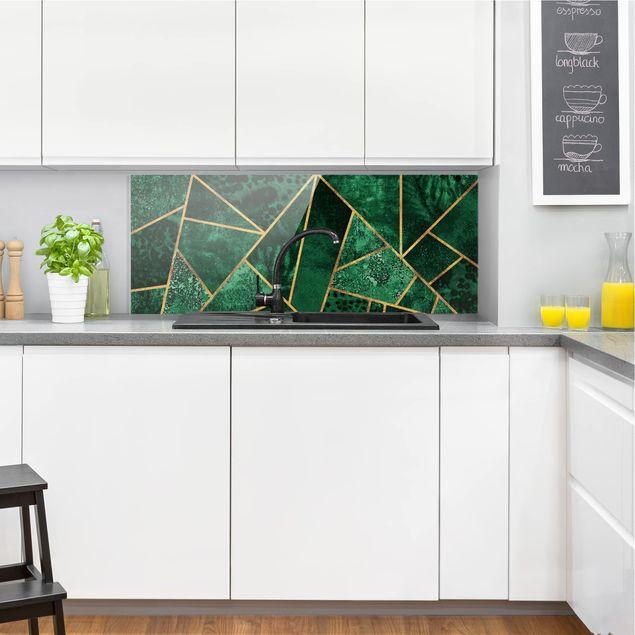 Spritzschutz Glas - Dunkler Smaragd mit Gold - Panorama
