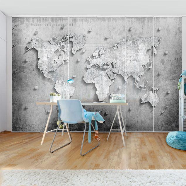 Schiebegardinen Set - Beton Weltkarte - Flächenvorhänge