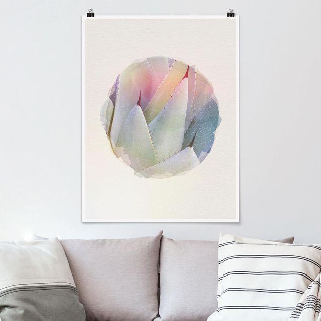 Poster - Wasserfarben - Agavenblätter - Hochformat 4:3