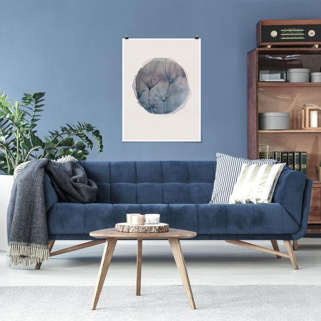 Poster - Wasserfarben - Blaue Federn im Regen - Hochformat 4:3