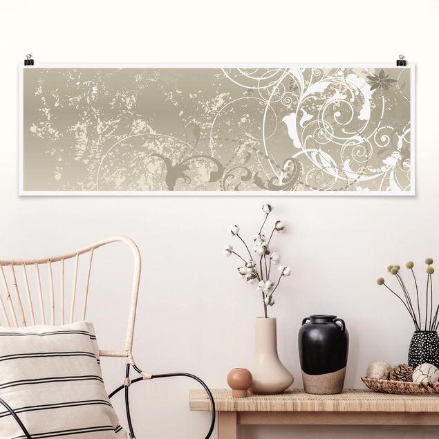 Poster - Perlmutt Ornament Design - Panorama Querformat