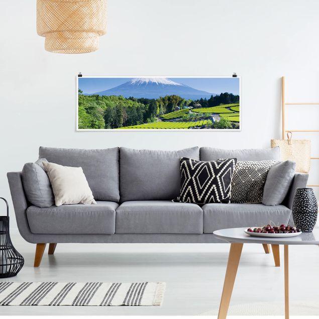 Poster - Teefelder vor dem Fuji - Panorama Querformat