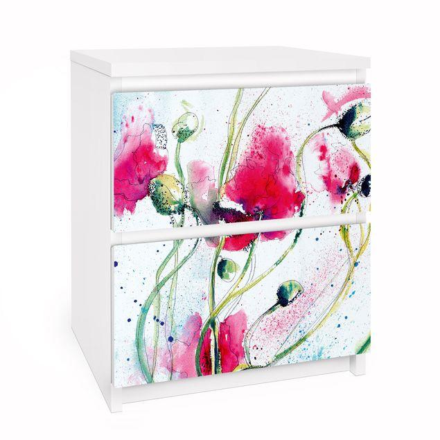 Möbelfolie für IKEA Malm Kommode - Selbstklebefolie Painted Poppie