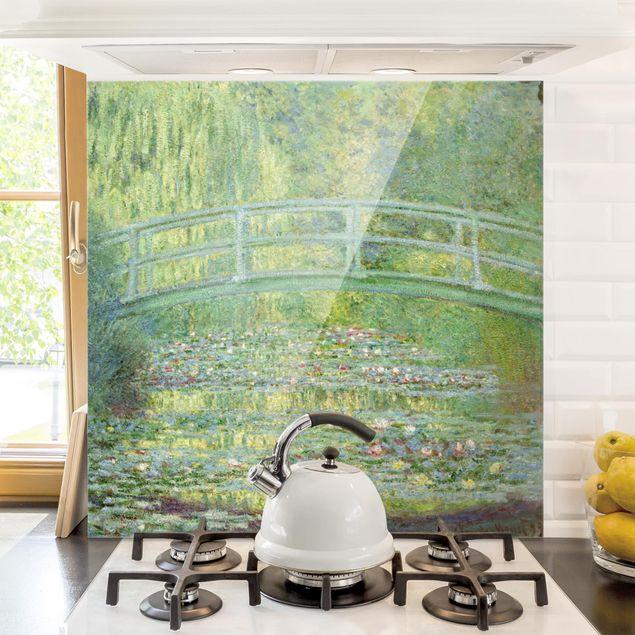 Glas Spritzschutz - Claude Monet - Japanische Brücke - Quadrat - 1:1
