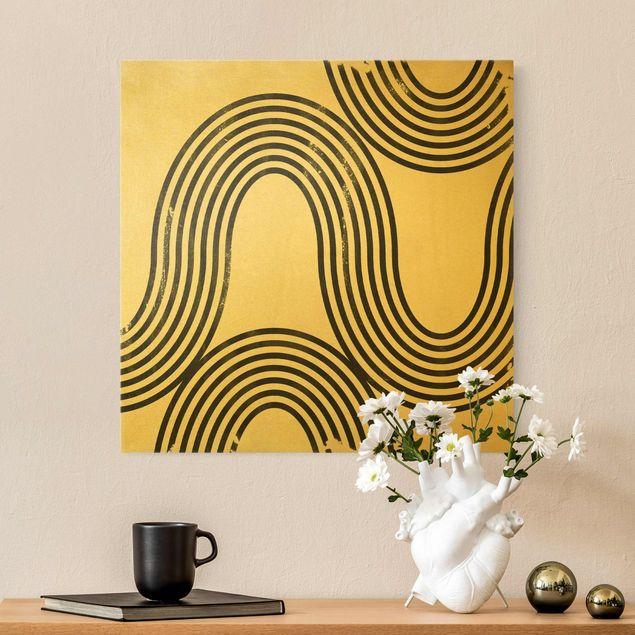 Leinwandbild Gold - Geometrische Wellen Schwarz Weiß I - Quadrat 1:1