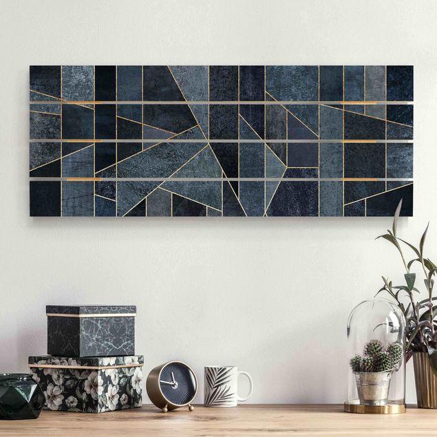 Holzbild - Elisabeth Fredriksson - Blaue Geometrie Aquarell - Querformat 2:5