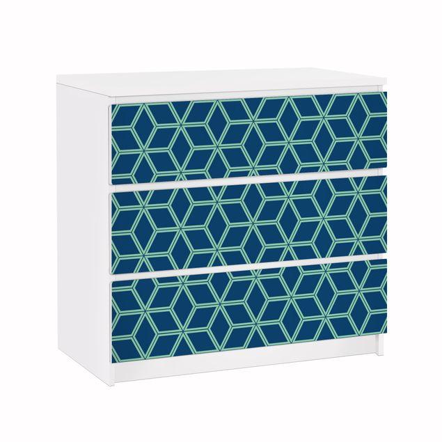 Möbelfolie für IKEA Malm Kommode - Klebefolie Würfelmuster Blau
