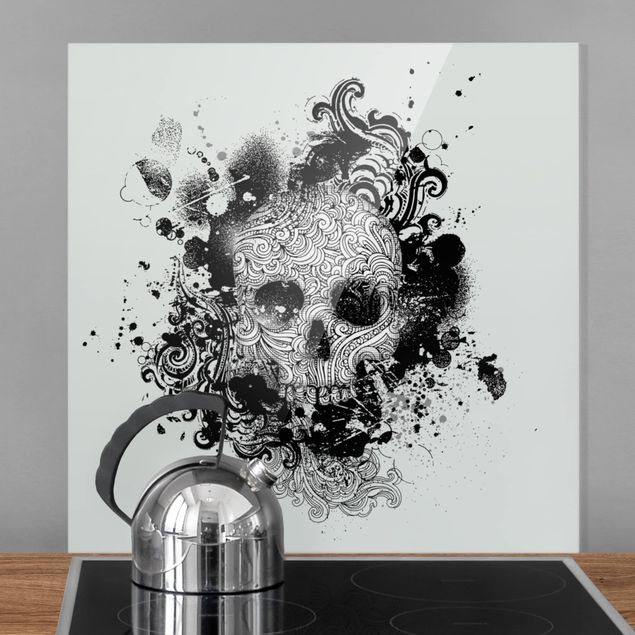 Glas Spritzschutz - Skull - Quadrat - 1:1