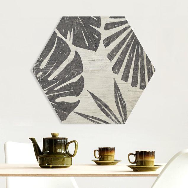 Hexagon Bild Forex - Palmenblätter vor Hellgrau