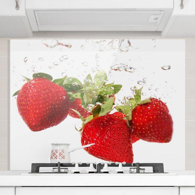 Glas Spritzschutz - Strawberry Water - Querformat - 4:3