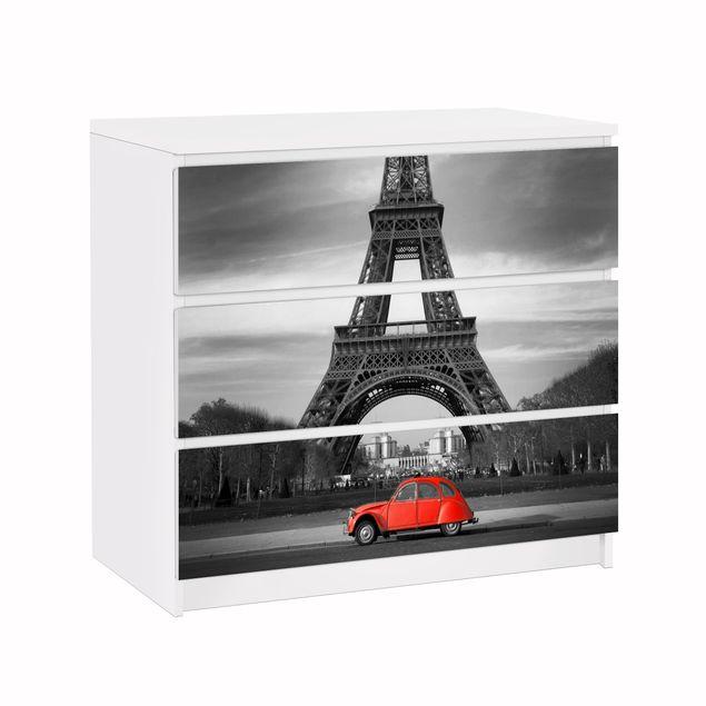 Möbelfolie für IKEA Malm Kommode - Klebefolie Spot on Paris
