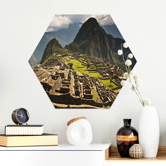 Hexagon Bild Alu-Dibond - Machu Picchu