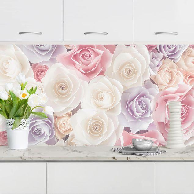 Küchenrückwand - Pastell Paper Art Rosen