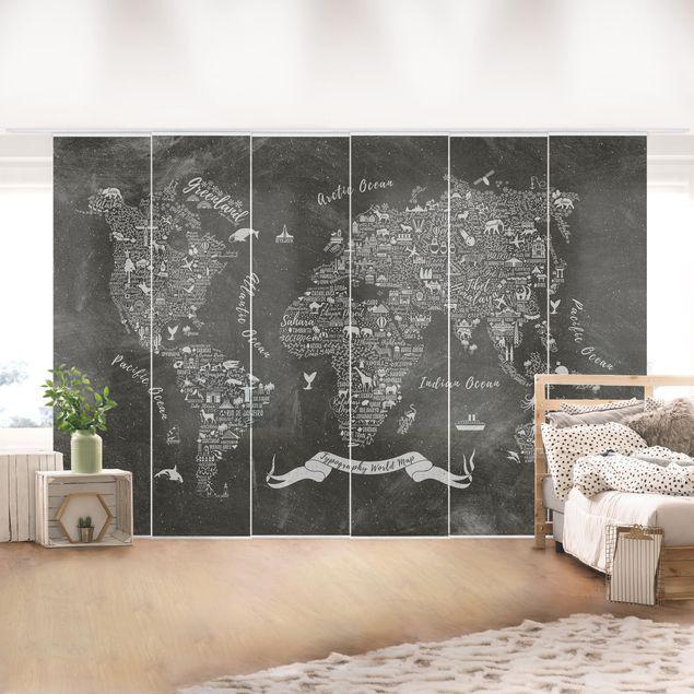 Schiebegardinen Set - Kreide Typografie Weltkarte - Flächenvorhänge