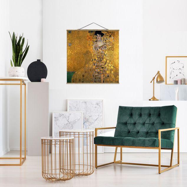 Stoffbild mit Posterleisten - Gustav Klimt - Adele Bloch-Bauer I - Quadrat 1:1