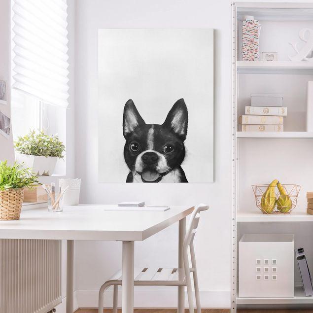 Leinwandbild - Illustration Hund Boston Schwarz Weiß Malerei - Hochformat 4:3