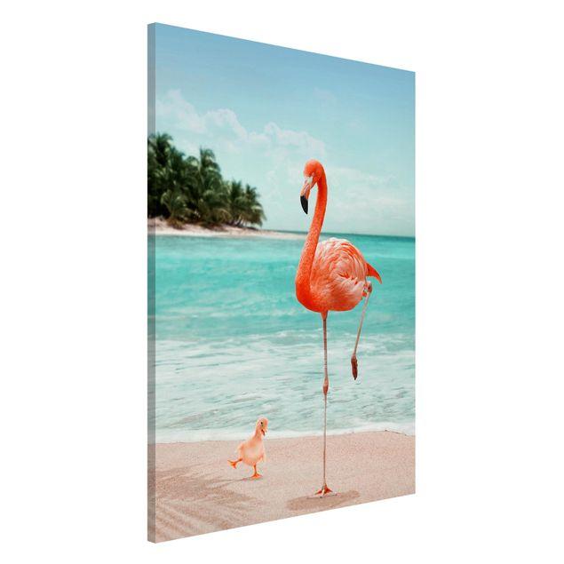 Magnettafel - Jonas Loose - Strand mit Flamingo - Memoboard Hochformat 3:2