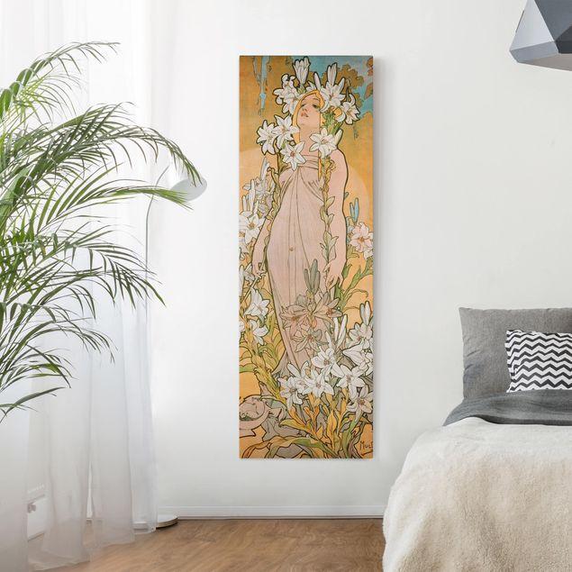Leinwandbild - Alfons Mucha - Die Lilie - Panorama Hochformat 3:1