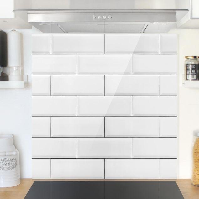 Glas Spritzschutz - Keramikfliesen Weiß - Quadrat - 1:1