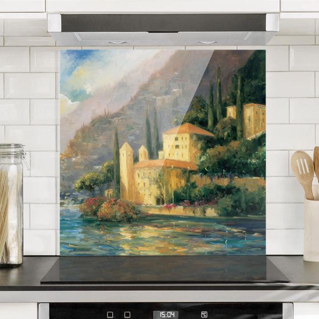 Glas Spritzschutz - Italienische Landschaft - Landhaus - Quadrat - 1:1