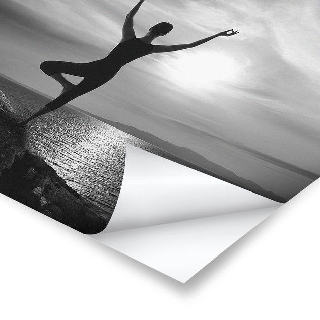 Poster - Yoga schwarz weiss - Quadrat 1:1