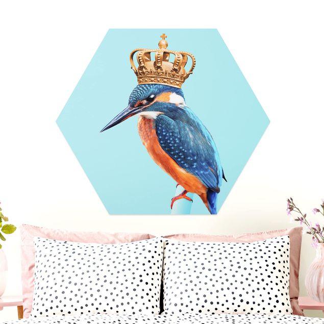 Hexagon Bild Alu-Dibond - Jonas Loose - Eisvogel mit Krone