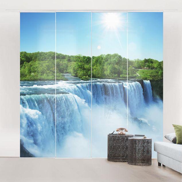 Schiebegardinen Set - Wasserfalllandschaft - Flächenvorhänge
