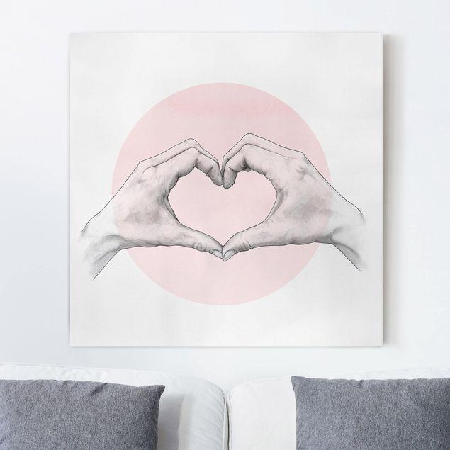 Leinwandbild - Illustration Herz Hände Kreis Rosa Weiß - Quadrat 1:1