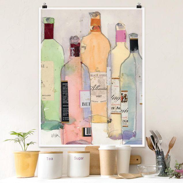 Poster - Weinflaschen in Wasserfarbe II - Hochformat 3:4