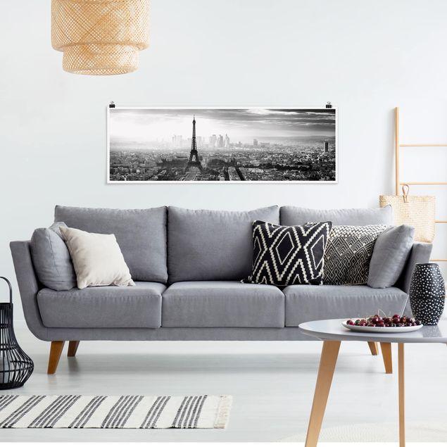 Poster - Der Eiffelturm von Oben schwarz-weiß - Panorama Querformat