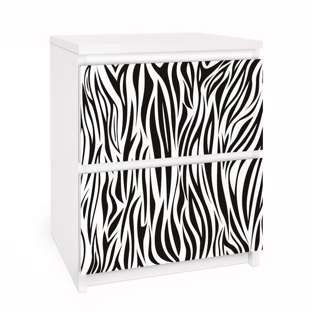 Möbelfolie für IKEA Malm Kommode - Selbstklebefolie Zebra Pattern